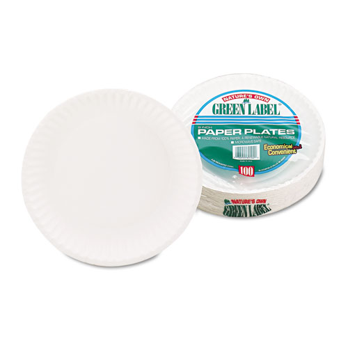 White Paper Plates, 9 Diameter, 100/Pack, 10 Packs/Carton