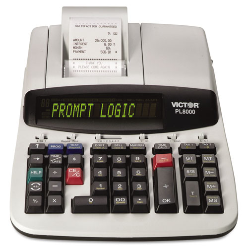 PL8000 One-Color Prompt Logic Printing Calculator, Black Print, 8 Lines/Sec | by Plexsupply