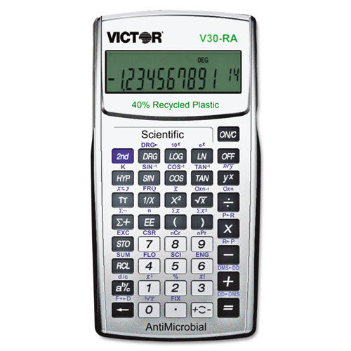 V30RA Scientific Recycled Calculator w/Antimicrobial Protection | by Plexsupply