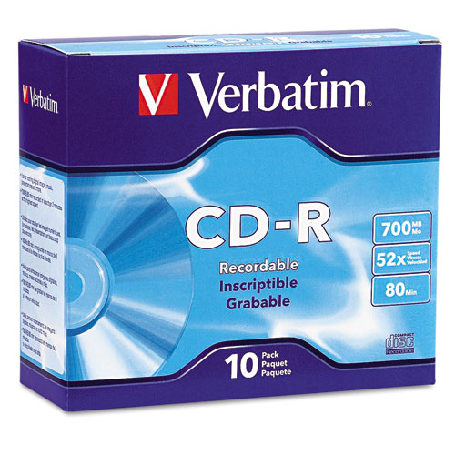Verbatim - cd-r discs, 700mb/80min, 52x, w/slim jewel cases, silver, 10/pack, sold as 1 pk