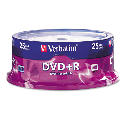 Verbatim - dvd+r discs, 4.7gb, 16x, spindle, silver, 25/pack, sold as 1 pk