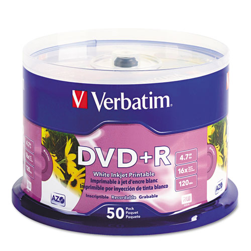 Inkjet printable dvd+r discs, white, 50/pack, sold as 1 package