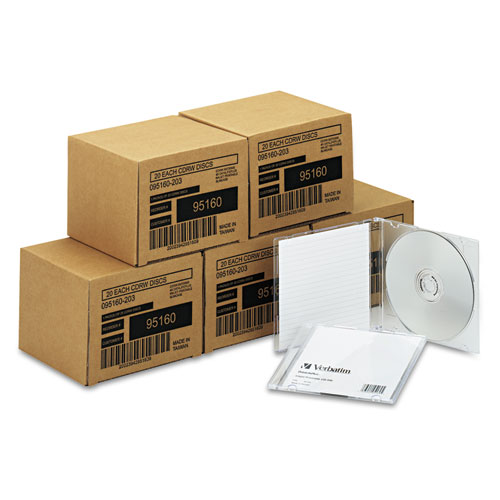 Verbatim - cd-rw discs, 700mb/80min, 4x, w/slim jewel cases, silver, 100/carton, sold as 1 ct