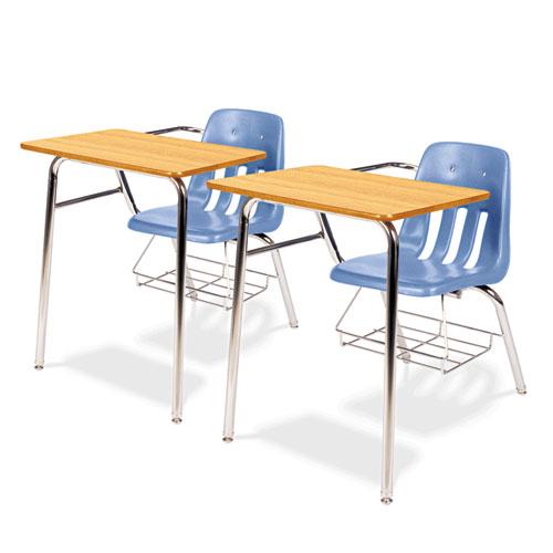 Virco 9400 Series Chair Desk, 21w x 33-1/2d x 30h, Medium Oak/Blueberry, 2/Carton