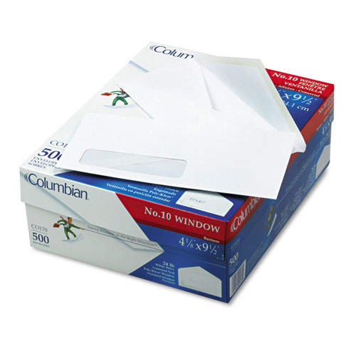 Columbian® Poly Klear Single Window Envelopes, #10, 4 1/8 x 9 1/2, White, 500/Box