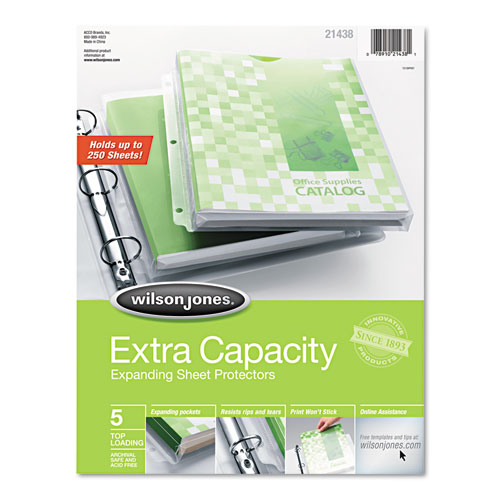 Top-Loading Extra Capacity Sheet Protectors, Letter, 5/Pack