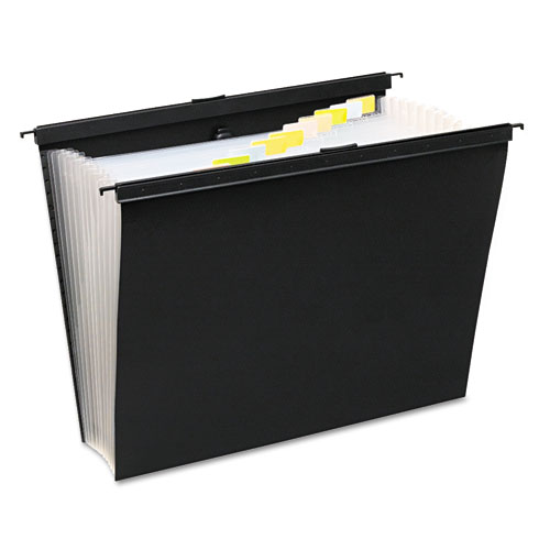Slide-Bar Expanding Pocket File, Letter Size, 12 Dividers, Black