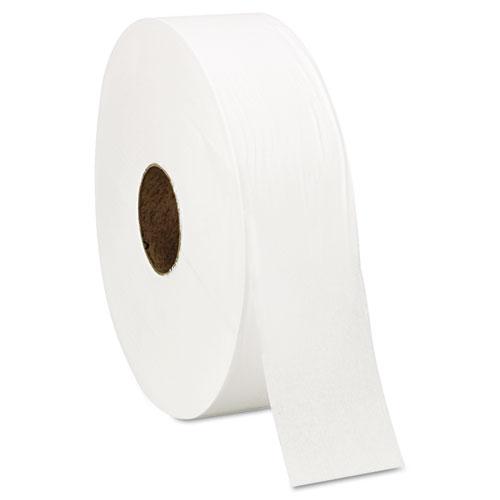 "Jumbo Roll Bath Tissue, Septic Safe, 1 Ply, White, 3.4"" x 4000 ft, 6 Rolls/Carton"