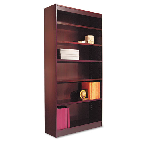 "Square Corner Wood Veneer Bookcase, Six-Shelf, 35.63""w x 11.81""d x 71.73""h, Mahogany 