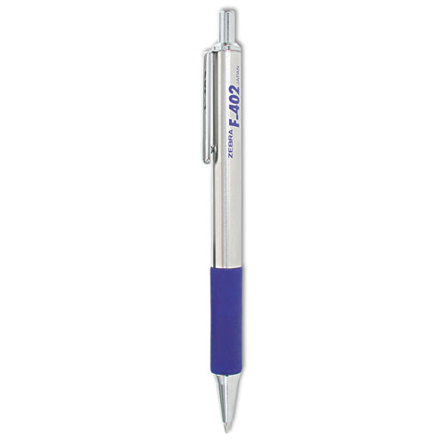 Zebra - f-402 ballpoint retractable pen, blue ink, fine, sold as 1 ea