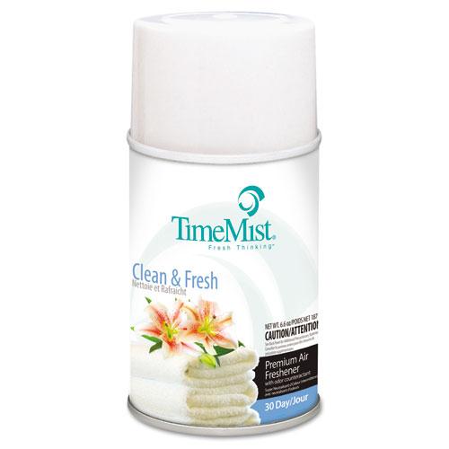 Premium Metered Air Freshener Refill, Clean N Fresh, 6.6 oz Aerosol, 12/Carton