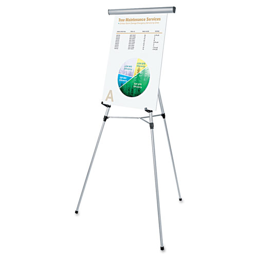 3-Leg Telescoping Easel with Pad Retainer, Adjusts 34 to 64, Aluminum, Silver