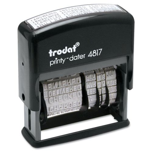 Trodat Economy 12-Message Stamp, Dater, Self-Inking, 2 x 3/8, Black | by Plexsupply