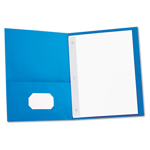 Two-Pocket Portfolios with Tang Fasteners, 11 x 8 1/2, Light Blue, 25/Box | by Plexsupply