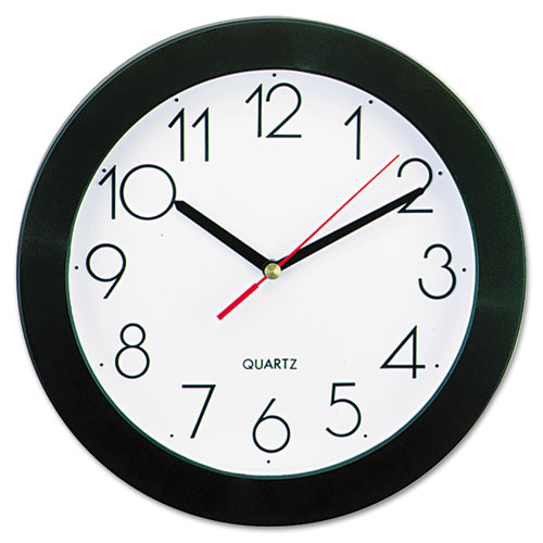 "Bold Round Wall Clock, 9.75"" Overall Diameter, Black Case, 1 AA (sold separately) 