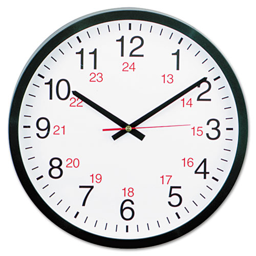 "24-Hour Round Wall Clock, 12.63"" Overall Diameter, Black Case, 1 AA (sold separately) 