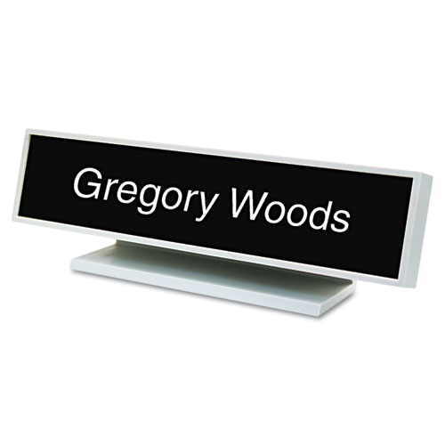 Architectural Desk Sign with Name Plate, Gray, Square Radius