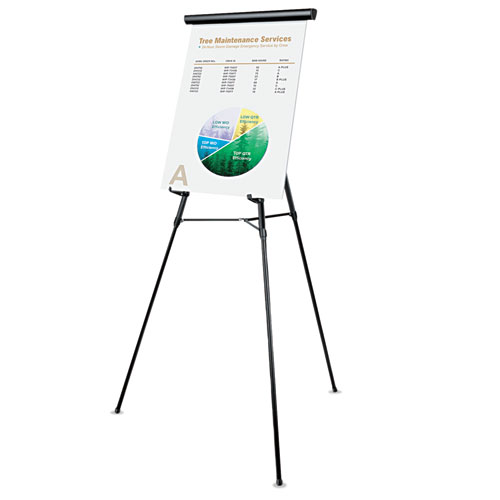 3-Leg Telescoping Easel with Pad Retainer, Adjusts 34 to 64, Aluminum, Black