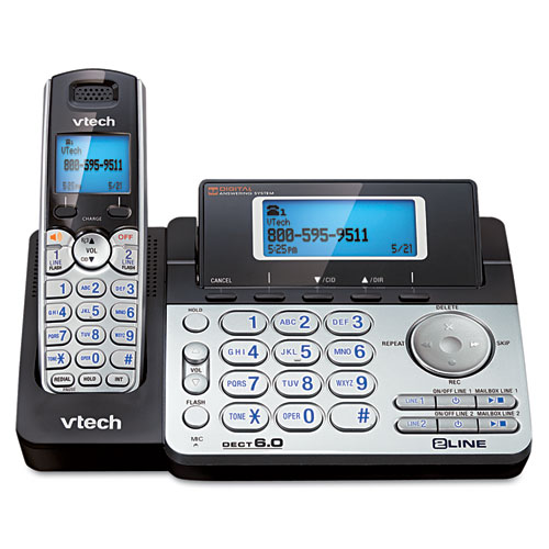 Vtech - two-line expandable cordless phone with answering system, sold as 1 ea