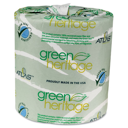 Green Heritage Professional Toilet Tissue, Septic Safe, 2-Ply, White, 4.4 x 3.5,  500/Roll, 96 Rolls/Carton