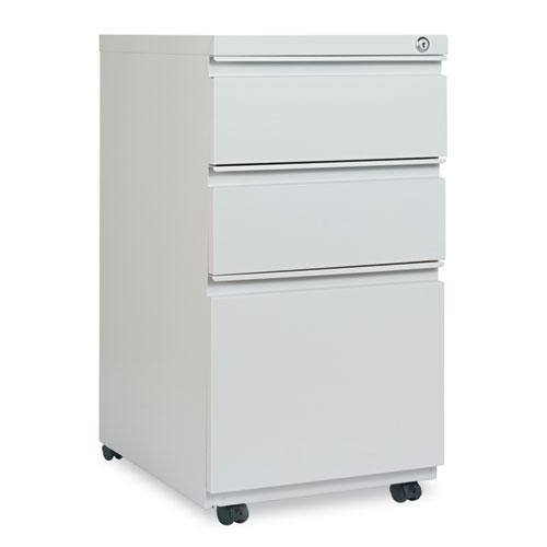 Three-Drawer Pedestal File with Full-Length Pull, 14.96w x 19.29d x 27.75h, Light Gray