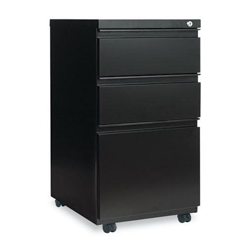 Three-Drawer Metal Pedestal File with Full-Length Pull, 14.96w x 19.29d x 27.75h, Black