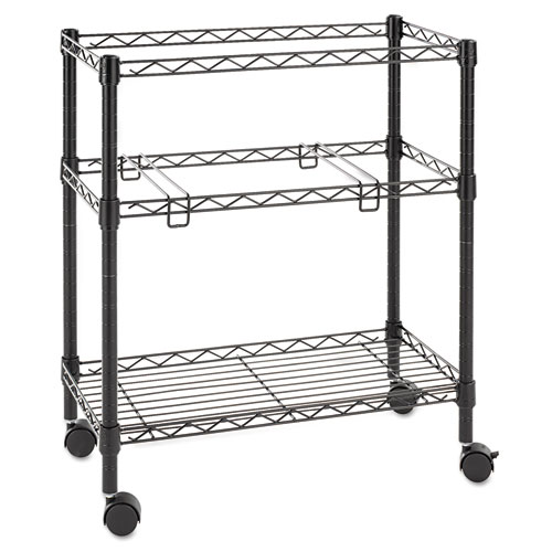 Two Tier Rolling File Cart 26w X14d X 29 1 2h Black