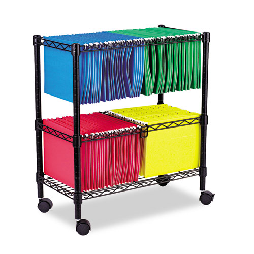 Two-Tier Rolling File Cart, 26w x 14d x 29.5h, Black | by Plexsupply