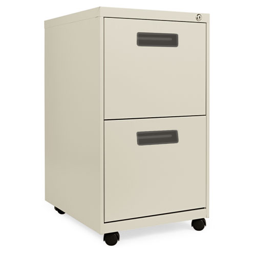 Two-Drawer Metal Pedestal File, 14.96w x 19.29d x 27.75h, Putty