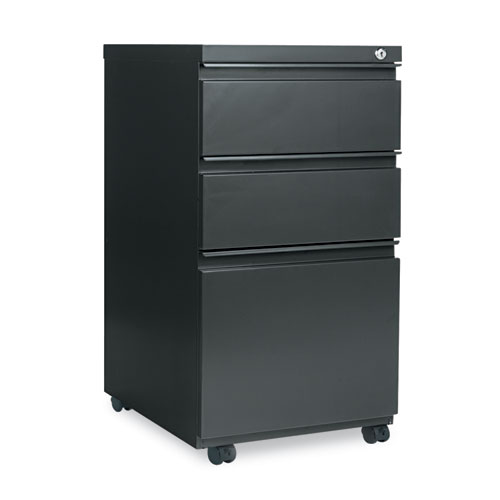 Three-Drawer Metal Pedestal File with Full-Length Pull, 14.96w x 19.29d x 27.75h, Charcoal