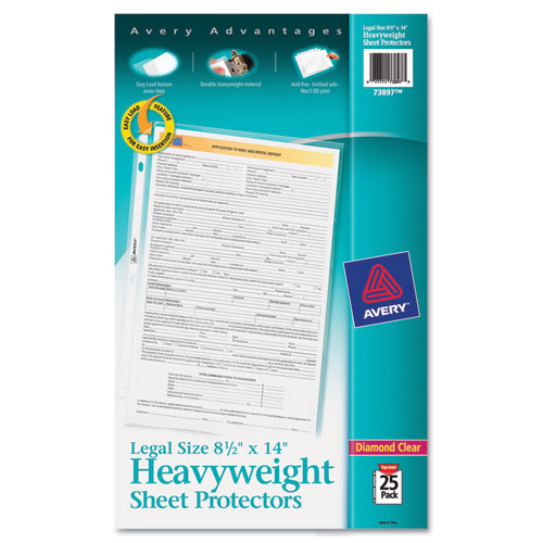 Top-Load Polypropylene Sheet Protector, Heavy, Legal, Diamond Clear, 25/Pack | by Plexsupply