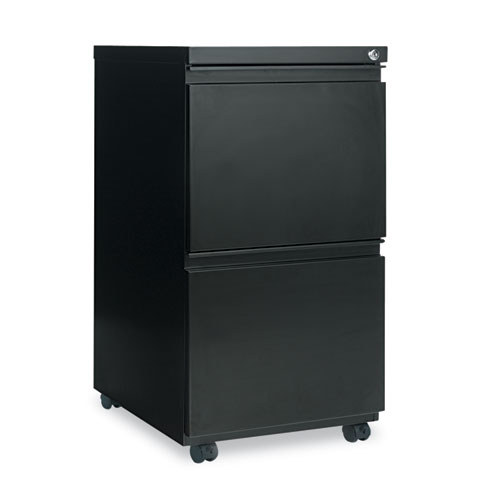 Two-Drawer Metal Pedestal File with Full-Length Pull, 14.96w x 19.29d x 27.75h, Black