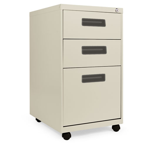 Three-Drawer Metal Pedestal File, 14.96w x 19.29d x 27.75h, Putty