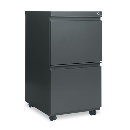 Two-Drawer Metal Pedestal File with Full-Length Pull, 14.96w x 19.29d x 27.75h, Charcoal
