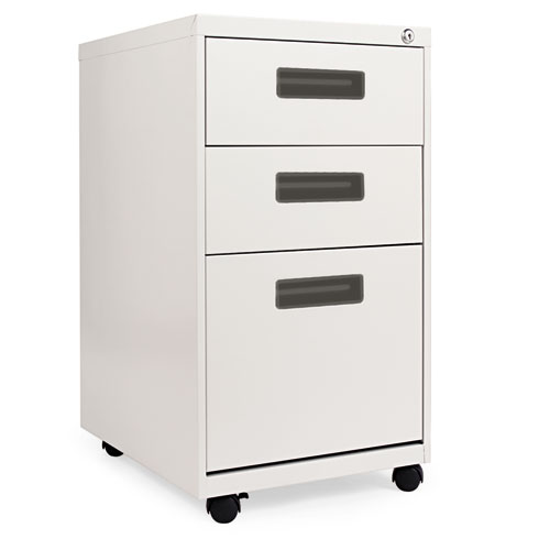 Three-Drawer Metal Pedestal File, 14.96w x 19.29d x 27.75h, Light Gray