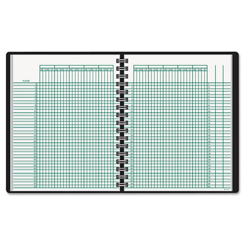 Undated Class Record Book, 10 7/8 x 8 1/4, Black | by Plexsupply