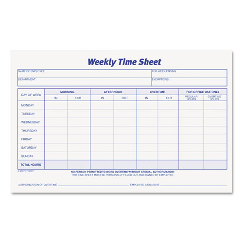 Weekly Time Sheets, 5 1/2 x 8 1/2, 50/Pad, 2/Pack | by Plexsupply