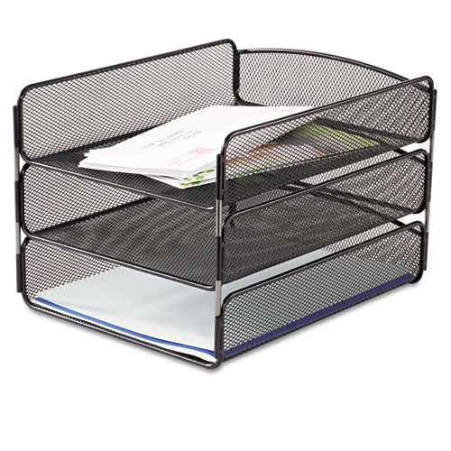 Desk Tray Three Tiers Steel Mesh Letter Black