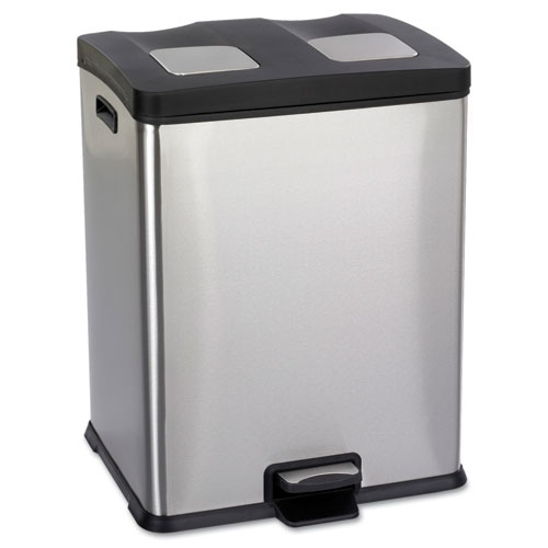 Safco® Right-Size Recycling Station, Rectangular, Steel/Plastic, 15gal, Stainless/Blk
