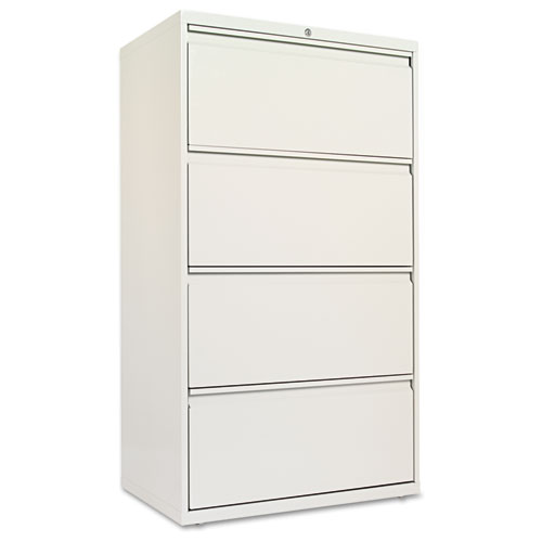 Four-Drawer Lateral File Cabinet, 30w x 18d x 52.5h, Light Gray