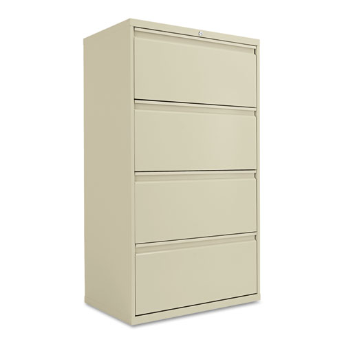 Four-Drawer Lateral File Cabinet, 30w x 19-1/4d x 53-1/4h, Putty
