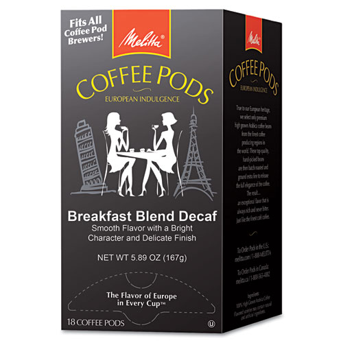 Coffee Pods, Breakfast Blend Decaf, 18 Pods/Box | by Plexsupply