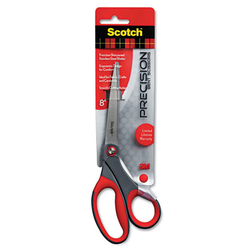 "Precision Scissors, Pointed, 8"" Length, 3 1/4"" Cut, Gray/Red 