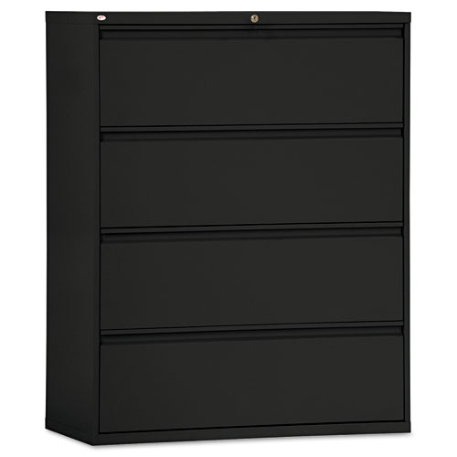 Four-Drawer Lateral File Cabinet, 42w x 18d x 52.5h, Black