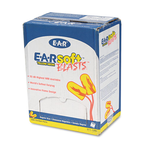 EARsoft Blasts Earplugs, Corded, Foam, Yellow Neon, 200 Pairs | by Plexsupply