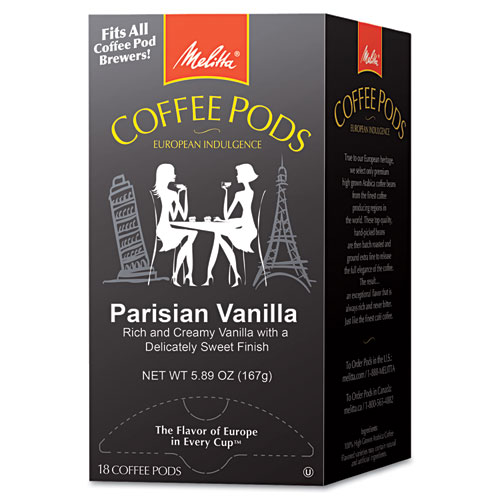 Coffee Pods, Parisian Vanilla, 18 Pods/Box | by Plexsupply