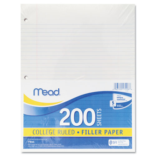 Filler Paper, 3-Hole, 8.5 x 11, Narrow Rule, 200/Pack