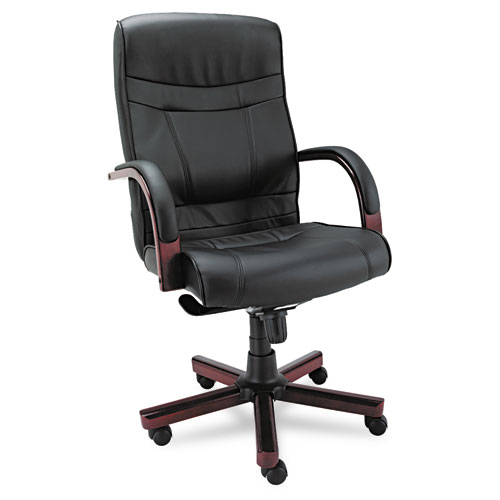 Alera® Alera Madaris Series High-Back Knee Tilt Leather Chair with Wood Trim, Supports up to 275 lbs, Black Seat/Back, Mahogany Base