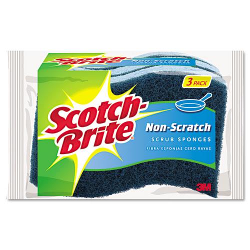Non-Scratch Multi-Purpose Scrub Sponge, 4 2/5 x 2 3/5, Blue, 3/Pack