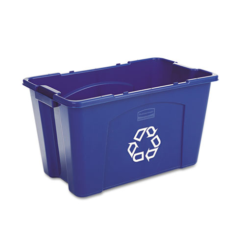 Stacking Recycle Bin, Rectangular, Polyethylene, 18 gal, Blue